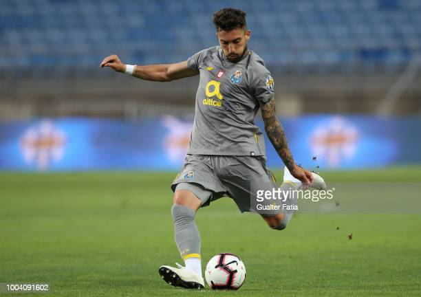 Alex Telles of FC Porto in action during the Algarve Cup match between FC Porto and Everton FC at Estadio Algarve on July 22 2018 in Faro Portugal