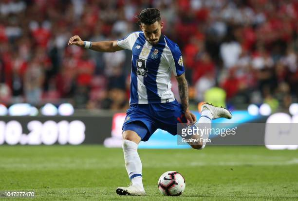 Alex Telles of FC Porto in action during the Liga NOS match between SL Benfica and FC Porto at Estadio da Luz on October 7 2018 in Lisbon Portugal