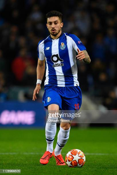 Alex Telles of FC Porto in action during the UEFA Champions League Round of 16 Second Leg match between FC Porto and AS Roma at Estadio do Dragao on...