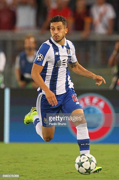Alex Telles of FC Porto in action during the UEFA Champions League qualifying playoff round second leg match between AS Roma and FC Porto at Stadio...