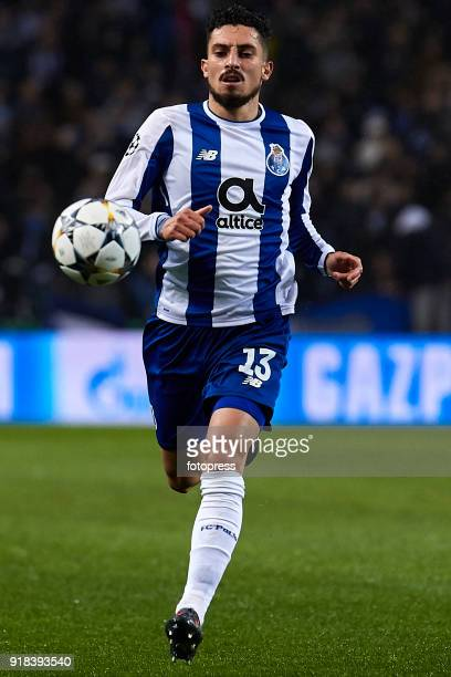 Alex Telles of FC Porto in action during the UEFA Champions League Round of 16 First Leg match between FC Porto and Liverpool FC at Estadio do Dragao...