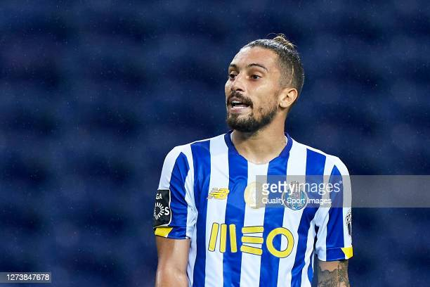 Alex Telles of FC Porto in reacts during the Liga NOS match between FC Porto and SC Braga at Estadio do Dragao on September 19 2020 in Porto Portugal