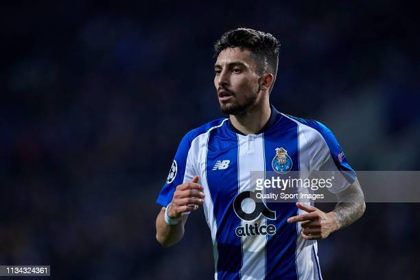 Alex Telles of FC Porto looks on during the UEFA Champions League Round of 16 Second Leg match between FC Porto and AS Roma at Estadio do Dragao on...