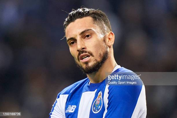 Alex Telles of FC Porto reacts during the Liga Nos match between FC Porto and SC Braga at Estadio do Dragao on January 17 2020 in Porto Portugal