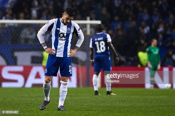 Alex Telles of FC Porto reactsduring the UEFA Champions League Round of 16 First Leg match between FC Porto and Liverpool FC at Estadio do Dragao on...
