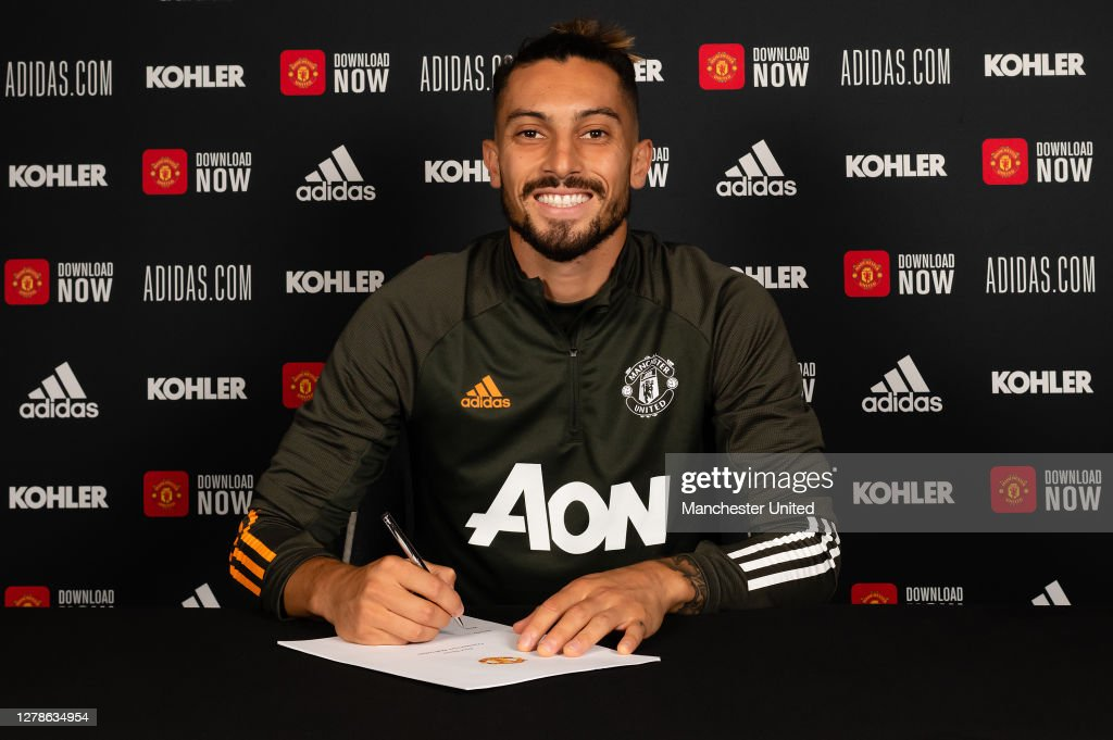 Manchester United Unveil New Signing Alex Telles : News Photo