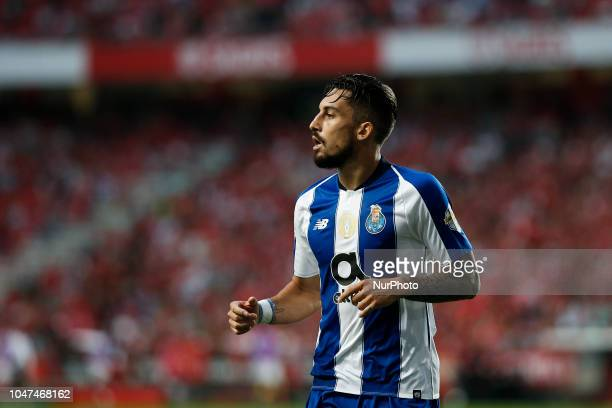 Alex Telles of Porto during the Portuguese League football match between SL Benfica and FC Porto at Luz Stadium in Lisbon on October 7 2018