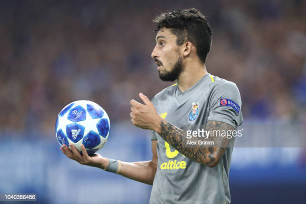 Alex Telles of Porto holds the ball during the Group D match of the UEFA Champions League between FC Schalke 04 and FC Porto at VeltinsArena on...