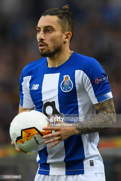 Alex Telles of Porto in action during the UEFA Europa League round of 32 second leg match between FC Porto and Bayer 04 Leverkusen at Estadio do...