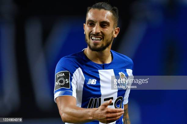 Alex Telles reacts during the Liga Nos match between FC Porto and Belenenses SAD at Estadio do Dragao on July 5 2020 in Porto Portugal