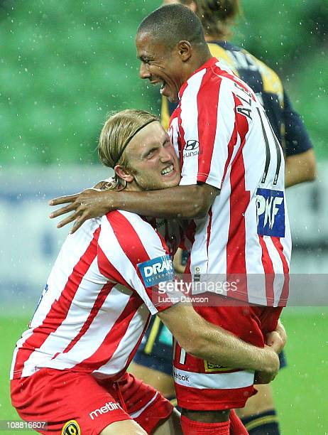 Alex Terra and Rutger Worm of the Heart celebrate a goal during the round 26 ALeague match between the Central Coast Mariners and Melbourne Heart at...
