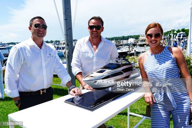 Alex Thompson Benjamin Croucher and Elizabeth Hurley attend Allied Marine Yacht Hop In Sag Harbor at Sag Harbor Cove Marina on June 30 2019 in Sag...