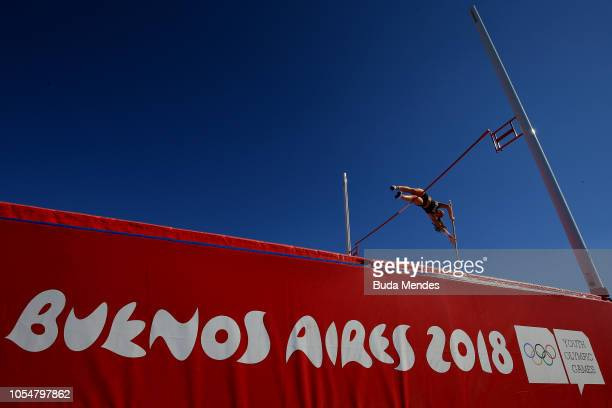 Alex Throndson of Canada competes in Women's Pole Vault Stage 2 during day 8 of Buenos Aires 2018 Youth Olympic Games at Youth Olympic Park Villa...