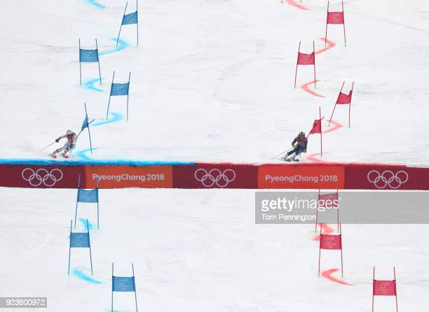 Alex Tilley of Great Britain and Patricia Mangan of the United States compete during the Alpine Team Event on day 15 of the PyeongChang 2018 Winter...