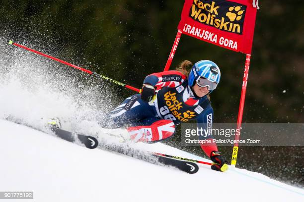 Alex Tilley of Great Britain competes during the Audi FIS Alpine Ski World Cup Women's Giant Slalom on January 6 2018 in Kranjska Gora Slovenia