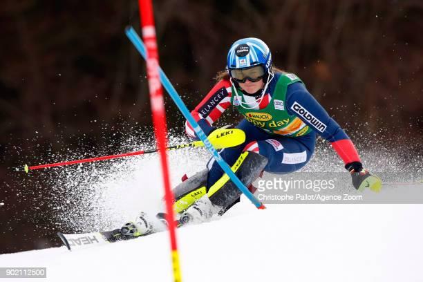 Alex Tilley of Great Britain competes during the Audi FIS Alpine Ski World Cup Women's Slalom on January 7 2018 in Kranjska Gora Slovenia