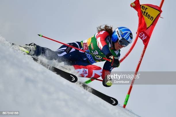 Alex Tilley of Great Britain competes during the women's Giant Slalom event of the FIS ski World cup in Soelden Austria on October 28 2017 / AFP...