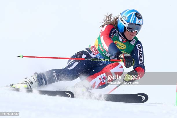 Alex Tilley of Great Britain competes in the first run of the AUDI FIS Ski World Cup Ladies Giant Slalom on October 28 2017 in Soelden Austria