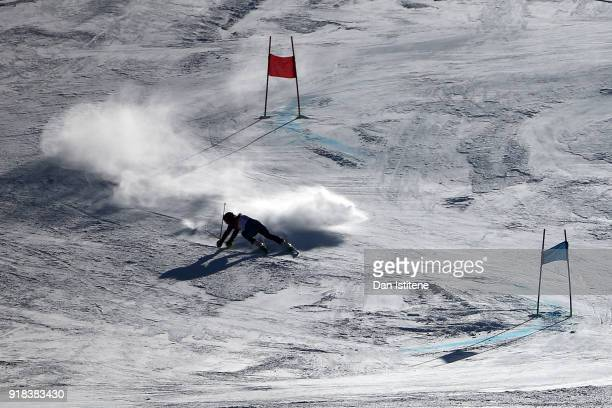 Alex Tilley of Great Britain crashes during the Ladies' Giant Slalom on day six of the PyeongChang 2018 Winter Olympic Games at Yongpyong Alpine...