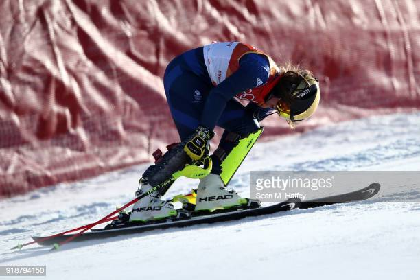 Alex Tilley of Great Britain fails to finish during the Ladies' Slalom Alpine Skiing at Yongpyong Alpine Centre on February 16 2018 in Pyeongchanggun...