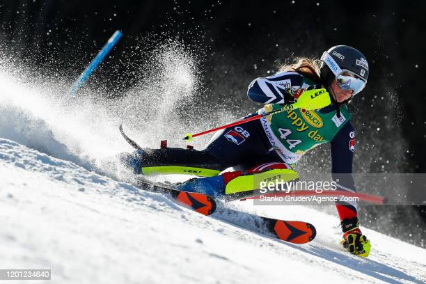 Alex Tilley of Great Britain in action during the Audi FIS Alpine Ski World Cup Women's Slalom on February 16, 2020 in Kranjska Gora Slovenia.