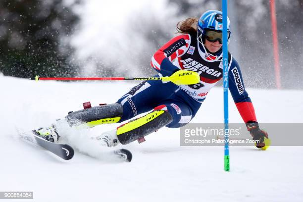 Alex Tilley of Great Britain in action during the Audi FIS Alpine Ski World Cup Women's Slalom on January 3 2018 in Zagreb Croatia