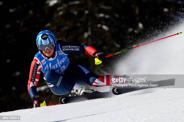 Alex Tilley of Great Britain in action during the Audi FIS Alpine Ski World Cup Women's Giant Slalom on January 23 2018 in Kronplatz Italy