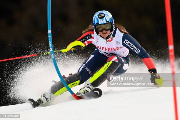 Alex Tilley of Great Britain in action during the Audi FIS Alpine Ski World Cup Women's Slalom on January 28 2018 in Lenzerheide Switzerland