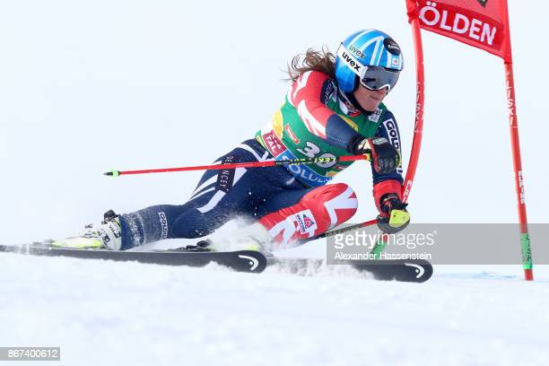 Alex Tilley of Great Britain of Sweden competes in the first run of the AUDI FIS Ski World Cup Ladies Giant Slalom on October 28 2017 in Soelden...