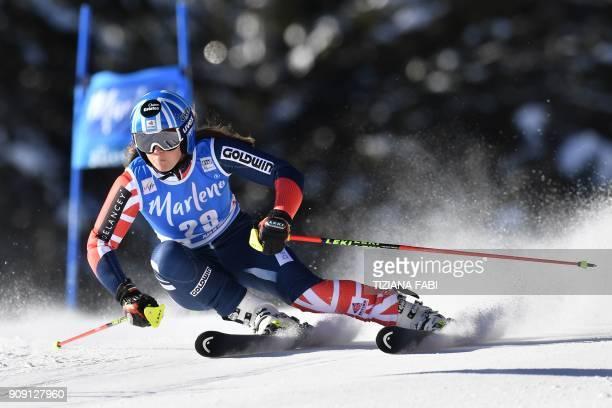 Alex Tilley of the United Kingdom competes in the FIS Alpine World Cup Women's Giant Slalom on January 23 2018 in Kronplatz / Plan de Corones Italian...