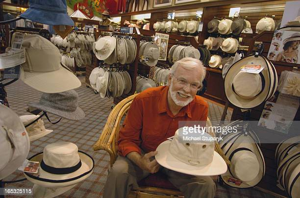 TORONTO ONT Alex Tilley of Tilley Endurables in his store at 900 Don Mills Road Holding a Tilley hat