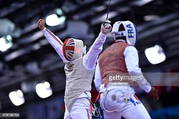 Alex Tofalides of Great Britian celebrates during the Men's Team Foil semi finals against JeanPaul Tony Helissey of France during day fifteen of the...