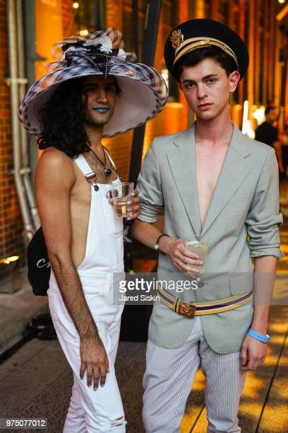 Alex Tomas and Thomas High attend the 2018 High Line Hat Party at the The High Line on June 14 2018 in New York City