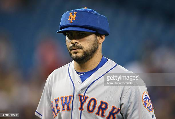 Alex Torres of the New York Mets walks off the mound at the end of the fifth inning during MLB game action against the Toronto Blue Jays on June 18...