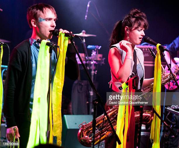Alex Toth and Annakalmia Traver perform with Rubblebucket at Asheville Music Hall on February 16 2012 in Asheville North Carolina
