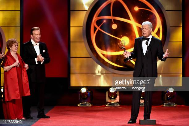 Alex Trebek accepts the Daytime Emmy Award for Outstanding Game Show Host onstageduring the 46th annual Daytime Emmy Awards at Pasadena Civic Center...