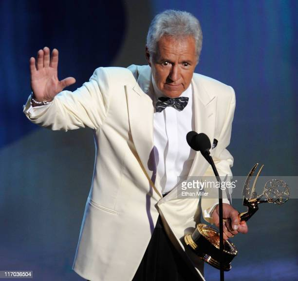 Alex Trebek accepts the Lifetime Achievement Award onstage during the 38th Annual Daytime Entertainment Emmy Awards held at the Las Vegas Hilton on...