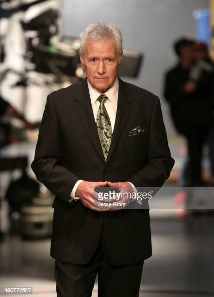 Alex Trebek appears onstage during Hot In Cleveland LIVE at the CBS Studio Center on March 26 2014 in Studio City California