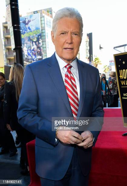 Alex Trebek poses for portrait at Harry Friedman Honored With A Star On The Hollywood Walk Of Fame on November 01, 2019 in Hollywood, California.