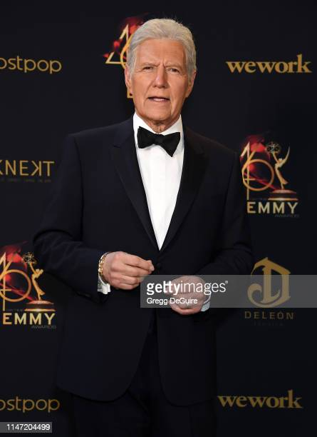 Alex Trebek poses in the press room during the 46th annual Daytime Emmy Awards at Pasadena Civic Center on May 05, 2019 in Pasadena, California.