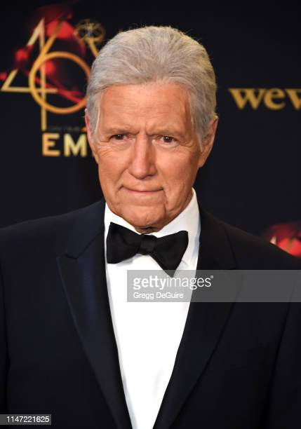 Alex Trebek poses in the press room during the 46th annual Daytime Emmy Awards at Pasadena Civic Center on May 05 2019 in Pasadena California