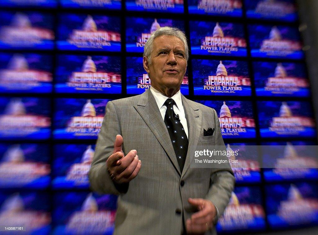 Alex Trebek Fims Jeopardy At DAR Constitution Hall In Washington DC : News Photo
