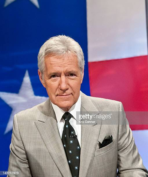 Alex Trebek speaks during a rehearsal before a taping of Jeopardy Power Players Week at DAR Constitution Hall on April 21 2012 in Washington DC