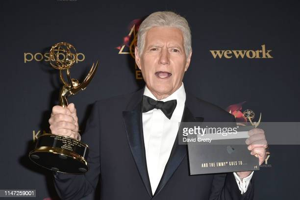 Alex Trebek winner of the Outstanding Game Show Host award poses at the 46th Annual Daytime Emmy Awards Press Room at Pasadena Civic Center on May 05...