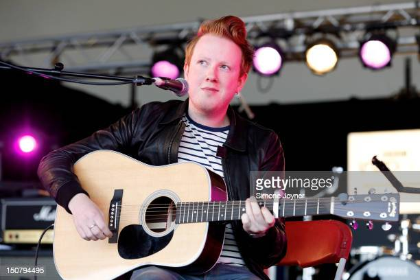 Alex Trimble of Two Door Cinema Club performs live on the BBC Introducing Stage on Day Three during the Reading Festival 2012 at Richfield Avenue on...