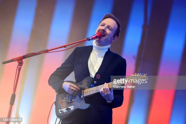 Alex Trimble of Two Door Cinema Club performs on Day 3 of Leeds Festival 2021 at Bramham Park on August 29, 2021 in Leeds, England.
