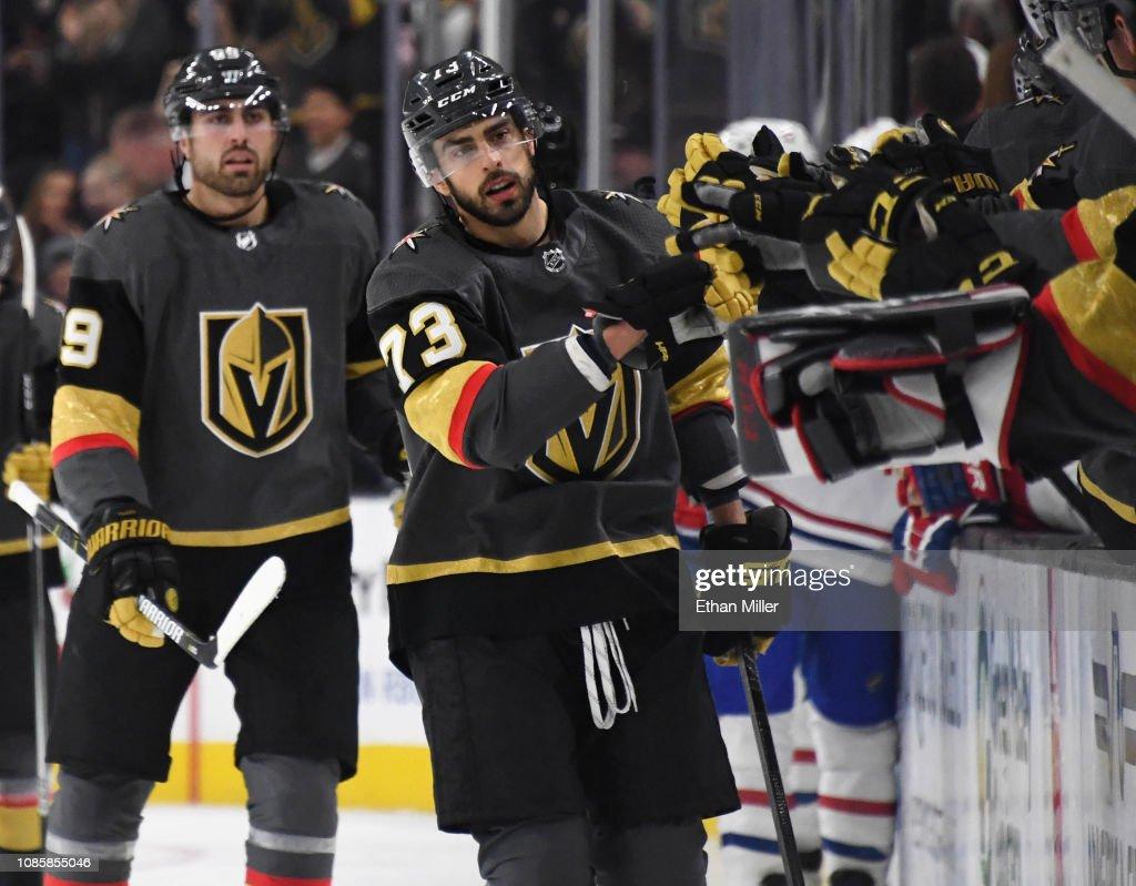 Alex Tuch and Brandon Pirri of the Vegas Golden Knights celebrate ... 6593b23ca