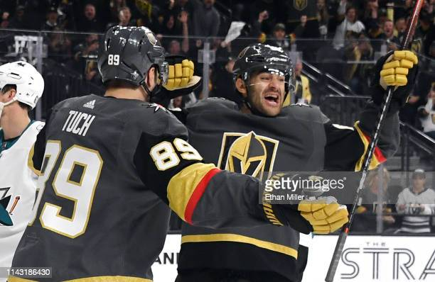 Alex Tuch and Max Pacioretty of the Vegas Golden Knights celebrate Pacioretty's secondperiod powerplay goal against the San Jose Sharks in Game Four...