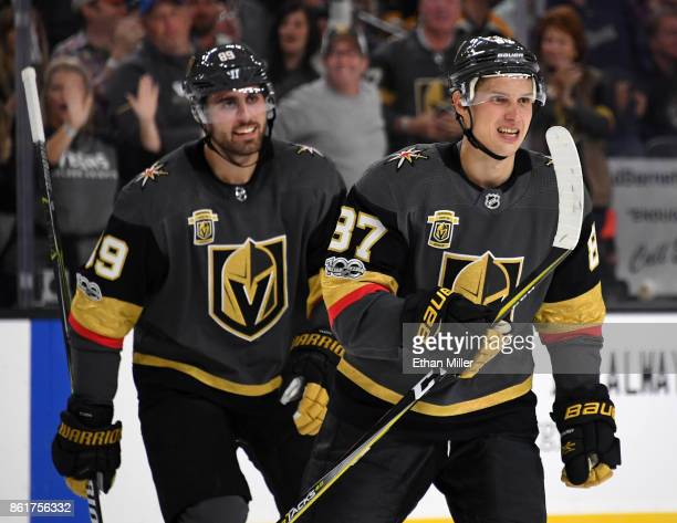 Alex Tuch and Vadim Shipachyov of the Vegas Golden Knights celebrate after Tuch assisted Shipachyov on a secondperiod goal against the Boston Bruins...