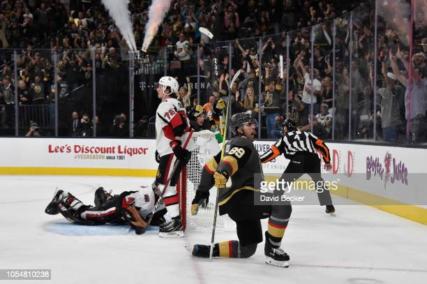 Alex Tuch of the Vegas Golden Knights celebrates after scoring a goal during the third period against the Ottawa Senators at TMobile Arena on October...